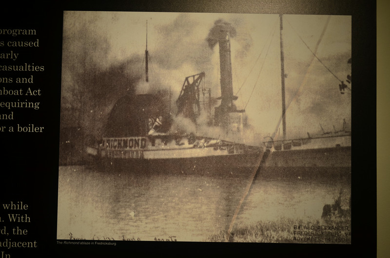 Steam Boat Richmond Burning at Pier in Fredericksburg Virginia
