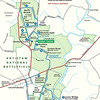 Map of the Antietam National Battlefield site, with the auto tour route outlined in blue.