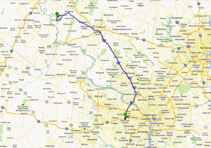 Route to Sharpsburg, Maryland from Vienna, Virginia to visit the Antietam National Battlefield is 66 miles (106 km) each way.