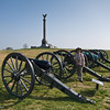 The four cannons are located just a short walk from the visitor center.  Front to back, the guns are: 10-pound parrot rifle; 3-inch ordnance rifle; and the two bronze ones behind me are Model 1841 6-pounders (Mexican War vintage, but used by many Confederate batteries at Antietam).  The column behind me is the New York State Monument.