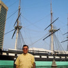 Photo Op for Mui in front of the USS Constellation, the only Civil War era Union Navy ship afloat.<br /> (Note the sailor walking up the bowsprit [the large spar projecting forward from the stem of the ship] on the left.)