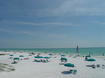 View of the beach later in the day - from our bungalow on the Siesta Key Beach.