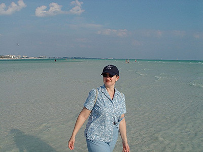 "An ""I was walking on water"" photo op made possible by the low tide at Siesta Key."