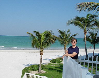 "An ""I was there"" photo op from the balcony of our beachside bungalow on Siesta Key."