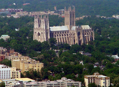 Aerial view of National Cathedral as our plane approaches National Airport in DC.