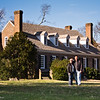 """A """"we were there"""" photo op at the Memorial House.  What we would consider the back of the house today was considered the front of the house back in the day.  It faced the creek and provided easy access to the house for visitors and delivery of goods."""