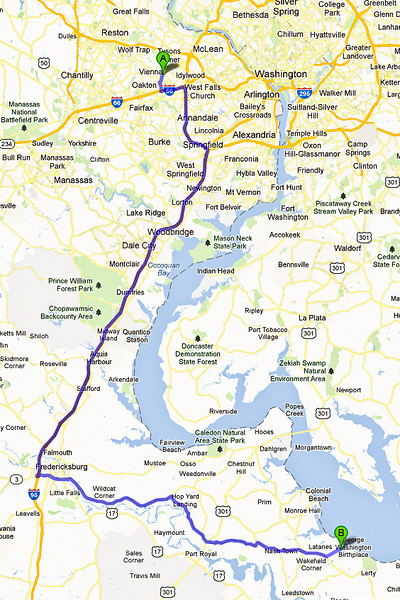 Using this route, it's 90.5 miles (~145 km) to the George Washington Birthplace National Monument.