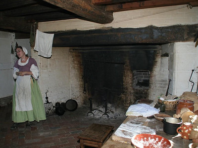 Unlike the kitchen in the Scotch-Irish farm, the kitchen on an English farm was not used as the primary living area.