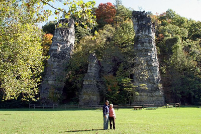 "A ""we were there"" photo op at Natural Chimneys State Park.  The chimneys are the remnants of an ancient sea that once covered the valley."