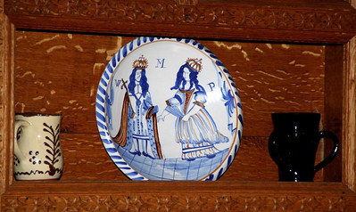 Ceramicware displayed as decorative items in the parlor.