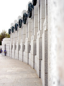 A small portion of the curved wall at the World War II Memorial.  Each wall carries the name of a state or territory of the US.