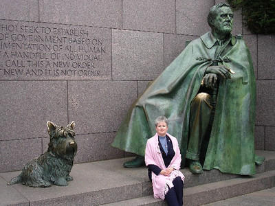 Visiting with FDR and his trusted dog, Fala.