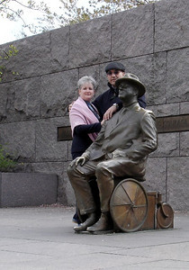 April 5, 2006 FDR Memorial - can't visit Teddy one day and not stop by to visit Franklin on another day!  (FDR did not like for people to see him in a wheelchair; notice the small wheels on his chair.)