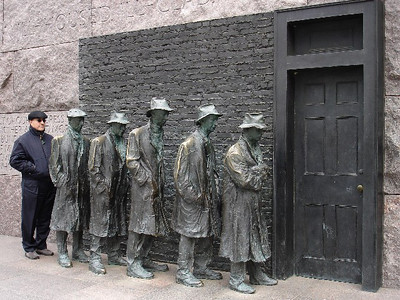 "The ""Breadline Monument"" at the FDR Memorial symbolizes the Depression."