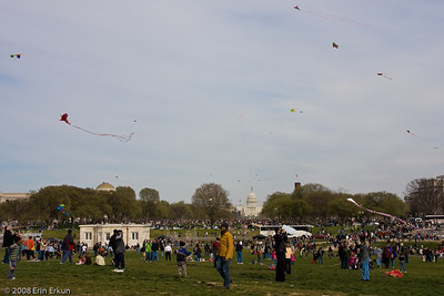 Busy day at the Smithsonian Kite Festival - looking in this direction, the crowds stretch all the way to the Capitol.