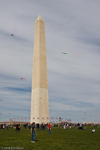 Smithsonian Kite Festival on the Mall.  The area around the Washington Monument is filled with kite flyers and spectators.