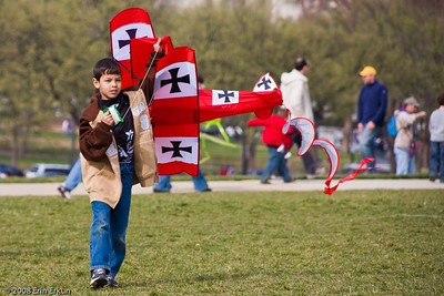 "A ""wanna-be Red Baron"" grounded when the wind died down - Smithsonian Kite Festival on the Mall."