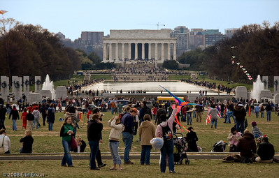 The crowds extend past the World War II Memorial and all the way to the Lincoln Memorial at the far end of the Mall.
