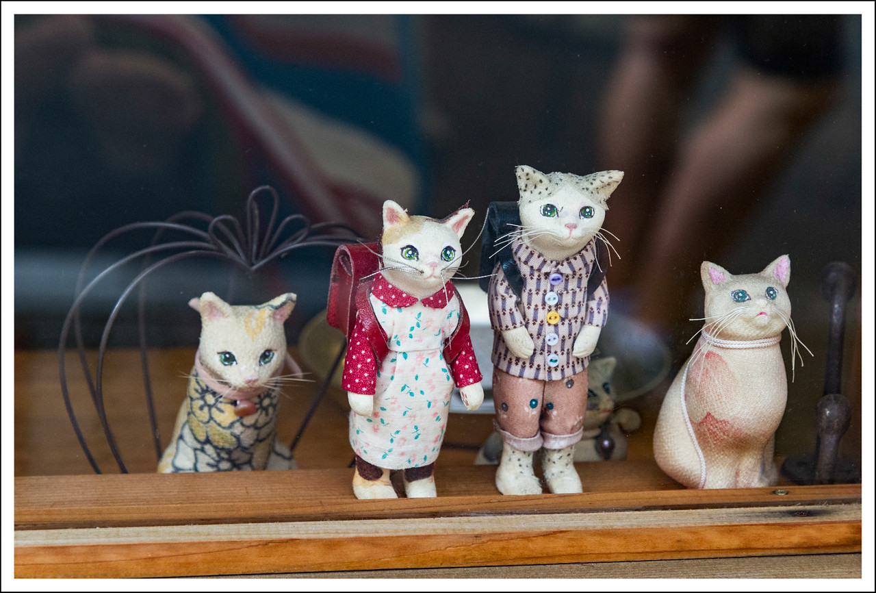 Yanaka is well known for its cats, both real ones and crafted ones.  These were made from silk fabric.