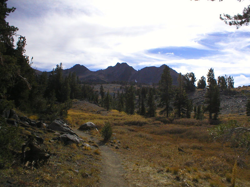 The Sisters, above Round Top Lake Basin. The lake is beyond the gentle ridge in the middle of the picture.