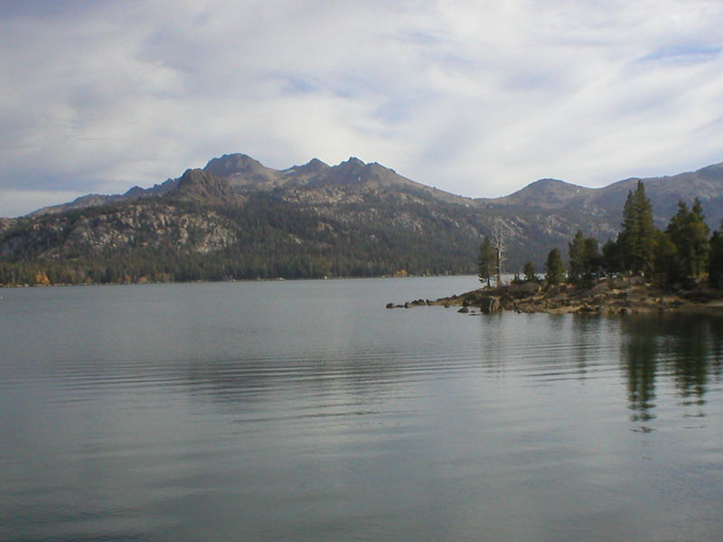 Round Top Peak, viewed across Caples Lake. From left: Round Top, The Sisters, and Fourth of July Peak. I climbed the latter in 1997.