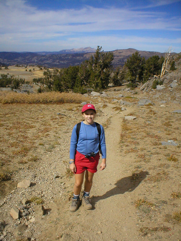 Munchkin, with her back to the trail done so far.