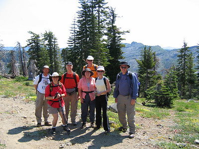 Group photo at Grouse Ridge Trailhead. From left: Jerry, Kris, Rich, Sheila, Mike, Daniela, and Frank (AKA Tiocampo). This trailhead is reached via a moderately-bumpy 8-mile road.