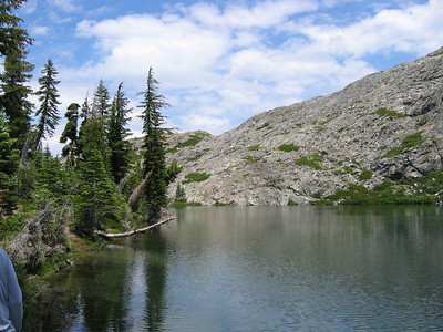 Glacier Lake. We found a couple of dozen people here, day-hiking and camping! This is not the place to come for solitude!
