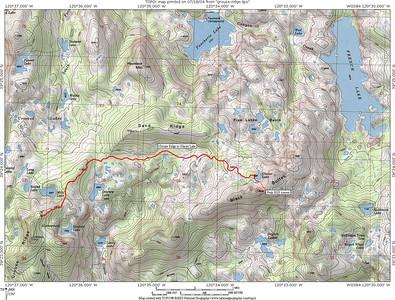 Grouse Ridge to Glacier Lake trail map