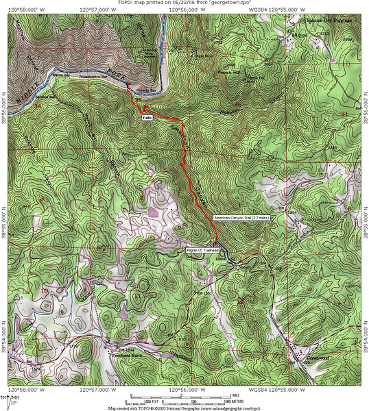 """Trail map for American Creek Canyon. Adapted from a similar map by <a href=""""http://www.waterfallswest.com/ca_americancanyon.html"""">Waterfallswest.com</a>. The hike is about 2.7 miles each way, with about 1100' elevation loss from the Pilgrim Court trailhead to Poverty Bar on the Middle Fork of the American River. Along the way is American Canyon Creek Falls, which is a bit hard to reach, near the trail just before reaching the bottom of the canyon."""