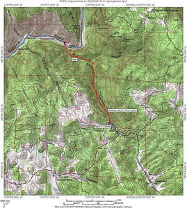Trail map for American Creek Canyon. Adapted from a similar map by Waterfallswest.com. The hike is about 2.7 miles each way, with about 1100' elevation loss from the Pilgrim Court trailhead to Poverty Bar on the Middle Fork of the American River. Along the way is American Canyon Creek Falls, which is a bit hard to reach, near the trail just before reaching the bottom of the canyon.