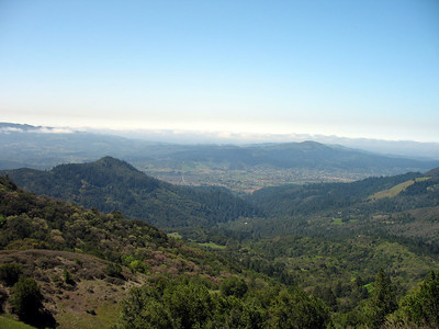 Looking down on Kenwood and Oakmont in the valley below. Sonoma Mt is on the left horizon. Bennett Mt is the peak in the right quarter. Jack London State Park is on Sonoma Mt. Annadel State Park is behind Oakmont, to the right of Bennett Mt.