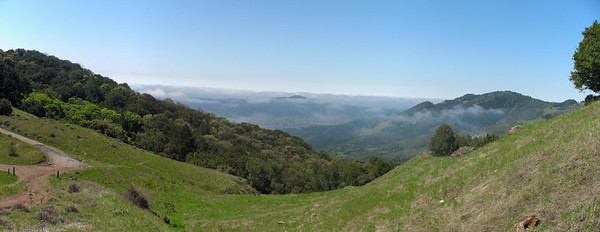 Panorama from trail up Bald Mt. We should be seeing Mt Tamalpais, but it is hidden in the clouds.