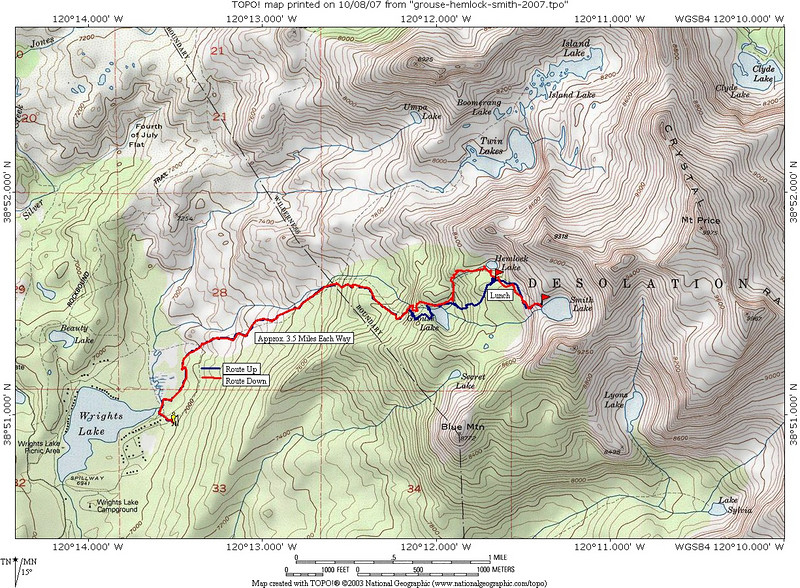 Our hike route from Wrights Lake to Grouse Lake, Hemlock Lake, and Smith Lake. The blue line shows our ascent route, while the red line shows the descent. On the way up, we deviated from the trail in a couple of places and traveled cross-country until rejoining it.