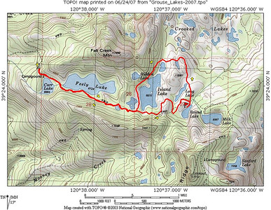 Our hike route for today. We stopped for lunch near Round Lake. After that, we took a cross-country route around Long Lake, rejoining the trail north of Island Lake. We contemplated an ascent of Fall Creek Mountain, but decided to save that for another day. It was my first time hiking from this trailhead, and I was pretty impressed!