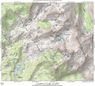 This is where we hiked. We could show the exact location of the Enchanted Pools, but that would take all the fun out of it. If I were looking for the Enchanted Pools, I would check along the Twin Lakes Creek, just above and downstream of where it is joined by Umpa Lake Creek.