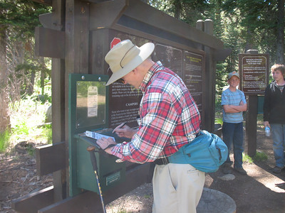 Larry fills out our wilderness permit.