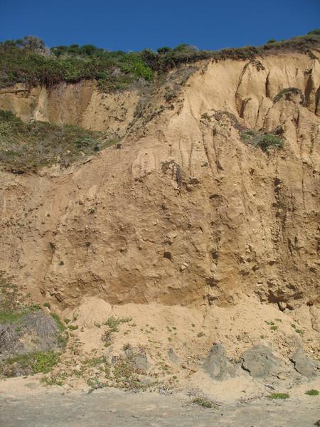 Sandy cliffs.