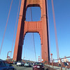 On the Golden Gate Bridge. We waited in a long line of cars to pull in at the vista point on the Marin County side. Melissa got out and took pictures while Tepo and I stayed at the car.