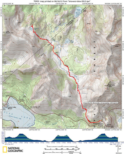 Our route for today, and out-and-back hike from the Carson Pass Trailhead.