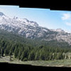 Panorama of Elephants Back, Round Top Peak, Three Sisters, other peaks. Natalia is standing on the trail at right.
