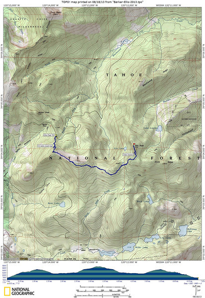 Our route for today: An out-and-back hike, about 6.8 miles, gaining/losing about 1700 feet.