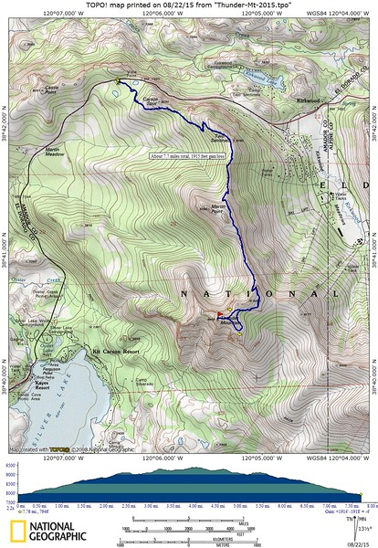 Our route for today. We hiked a bit over 7.5 miles, with elevation gain/loss about 1915 feet.