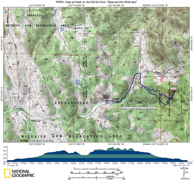 Our route for today. We hiked about 5.4 miles, with a gain/loss of about 540 feet. The elevation profile is viewed from right to left for our route.