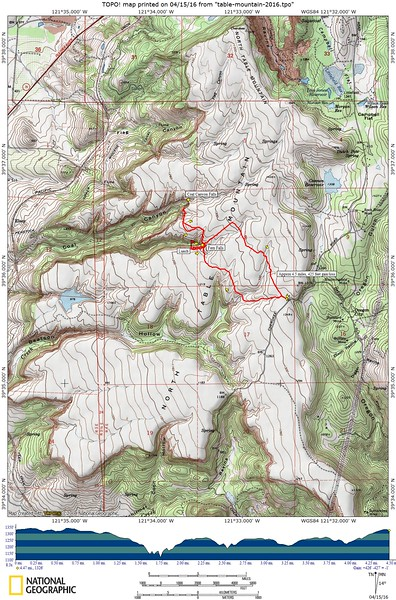 Our route for today. Approx 4.5 miles, with about 425 feet gain/loss.