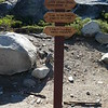 Mileage signs at the trailhead.