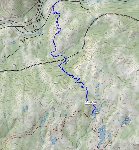 My route for today. A short but rugged and strenuous hike on a rough trail. I stopped at Lower Loch Leven Lake. Most of the  others in our group went all the way up to Upper Loch Leven Lake. Rich and Dominic hiked as far as the train track. The route to Lower Loch Leven Lake was about 6.1 miles, with 1588 feet gain/loss.