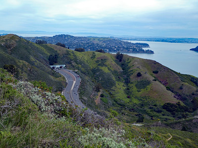 US 101 and the Waldo/Robin WIlliams Tunnels from Slacker Hill. The ridge above and behind US 101 is our destination for today.