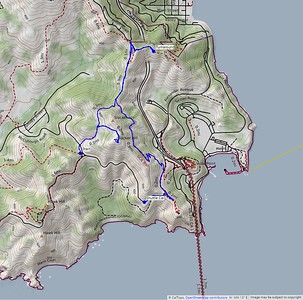 Our route for today. We hiked about 3.75 miles, with about 1250 feet elevation gain and 1400 feet loss.