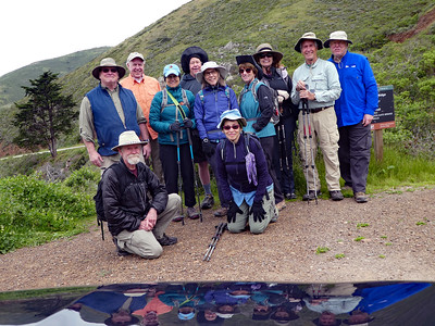 Our group for today, reflected off Rich's and Linda's new Forester. From left, standing: Jerry C, Mike, Donna, Frank M, Jean, Lynda, Linda, Rich, Frank F (yours truly). Kneeling: Jerry B, Marcy.
